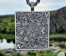 Vegvisir Pendant Viking Pendant Great Detailed Sterling Silver Norse Viking Necklace Viking Jewelry (based on portal stave church Borgund)