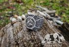 Triple Horn of Odin Ring Loki Mask Ring Viking Ring Mammen Style Ring Sterling Silver Norse Ring Viking Jewelry (based on Cammin Casket)