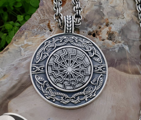 Black Sun Pendant Viking Necklace Black Sun Viking Pendant Sterling Silver Viking Necklace Scandinavian Viking Jewelry (Tandgarve, Sweden)