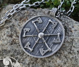 Thunder shield of Perun (Gromovnik, Yarovrat) Slavic Axes Pendant Amulet Sterling Silver Necklace Norse Jewelry
