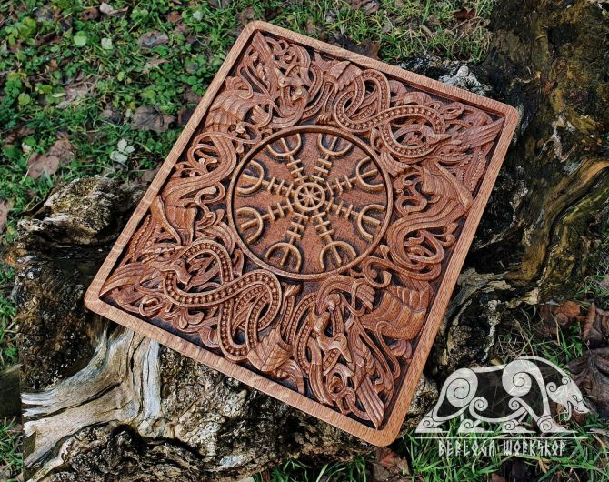 Helm of Awe Aegishjalmur Wood Carving Viking Decor Wall Hanging Great Detailed Norse Oak Wall Woodwork. based on portal stave church Borgund