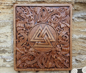 Valknut Wood Carving Viking Decor Valknut Wall Hanging Great Detailed Norse Oak Wall Woodwork (based on portal stave church Borgund)
