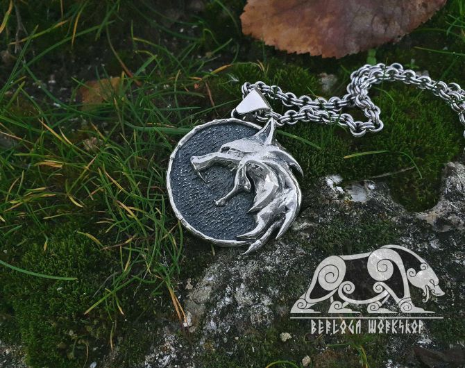 Wolf School Medallion Wolf Pendant Cosplay Pendant Sterling Silver Witcher Wolf School Necklace Witcher Medallion Witcher Pendant 1