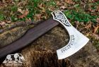 """Hand forged Runic axe """"Messel Forseti"""" axe in a leather case"""
