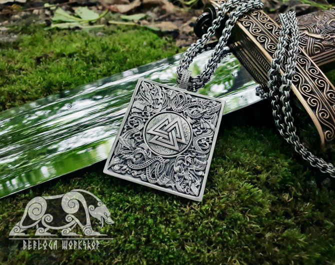 Valknut Pendant Viking Pendant Great Detailed Sterling Silver Norse Viking Necklace Viking Jewelry (based on portal of stave church Borgund)
