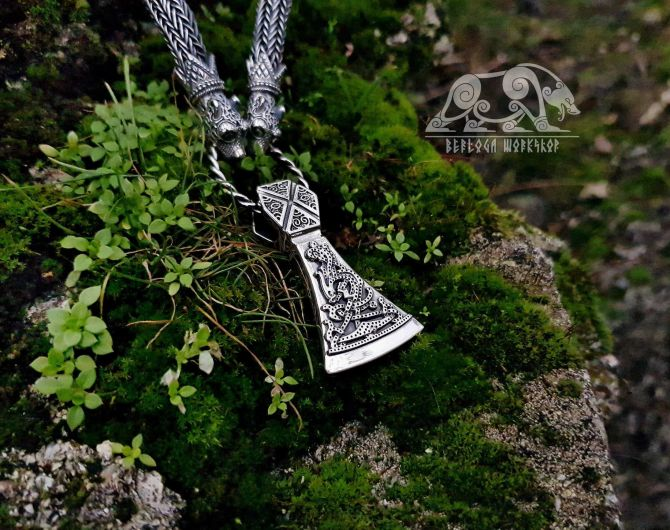 Set Wolfs Heads Oseberg Viking Necklace with Mammen Viking Axe Pendant Sterling Silver Viking Necklace Scandinavian Norse Viking Jewelry