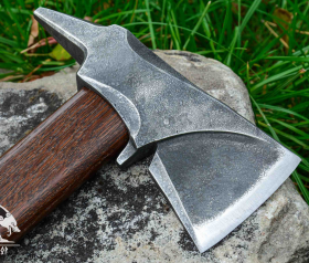 """Camping Hand Forged hatchet """"Hephaestus"""" with leather cover and wooden box"""