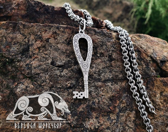 Viking Key Pendant Viking Pendant Replica Sterling Silver Viking Key Necklace Scandinavian Norse Viking Jewelry (4)
