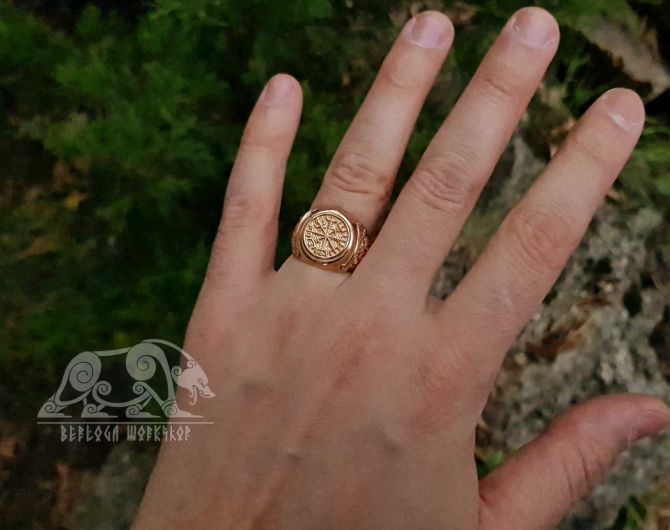 Vegvisir Ring Viking Ring Mammen Style Sterling Silver Runic Compass Ring Viking Jewelry