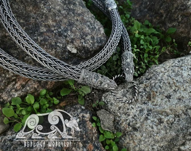 Raven Heads Viking Necklace Replica Viking Chain Sterling Silver Chain Scandinavian Norse (Viking Replica Denmark, X century) Viking Jewelry