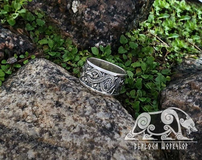 Viking Ring Great Detailed Beautiful Unique Ring (design based on portal of stave church Borgund) Sterling Silver Norse Ring Viking Jewelry