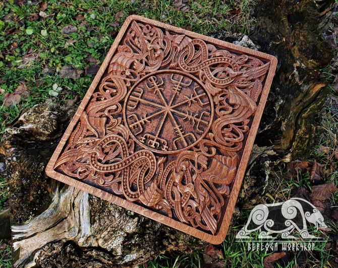 Vegvisir Wood Carving Viking Decor Vegvisir Wall Hanging Great Detailed Norse Oak Wall Woodwork (based on portal stave church Borgund)