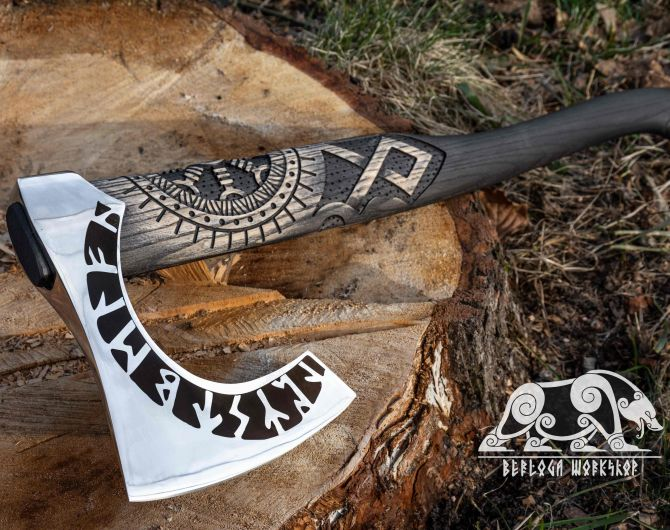 Viking Axe Hand forged axe OTHALA with leather cover and wooden box