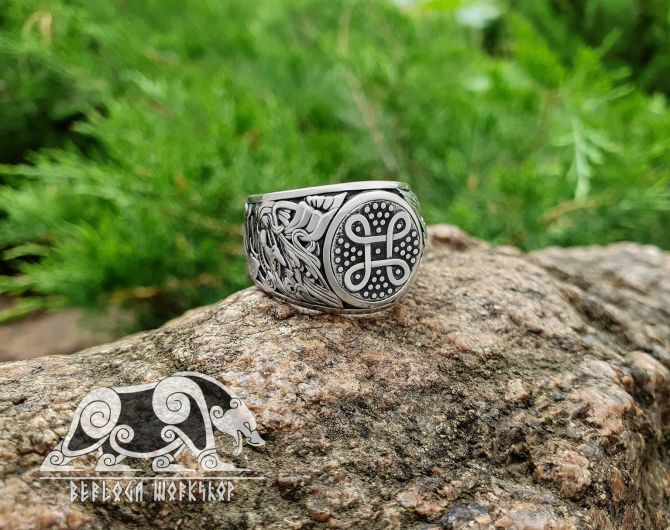 Viking Shield Knot Ring Viking Ring Detailed Ring (design based on portal of stave church Borgund) Sterling Silver Norse Ring Viking Jewelry (1)
