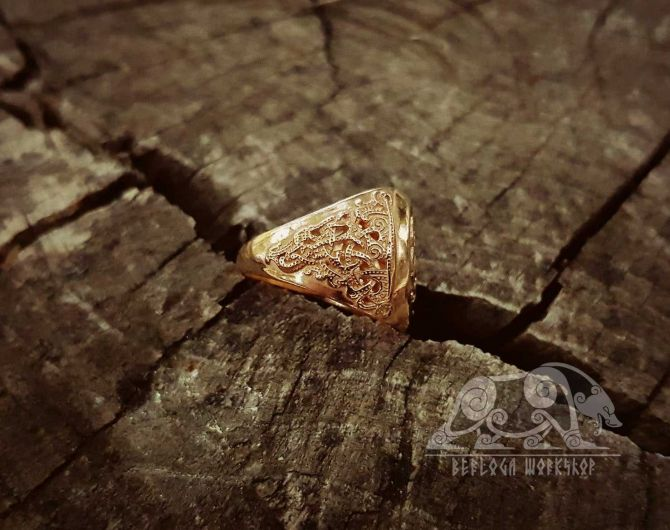 Gold Vegvisir Viking Ring Mammen Style 18K Gold Ring Runic Compass Ring Scandinavian Norse Viking Jewelry