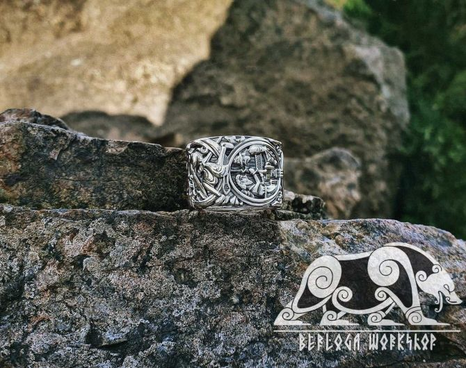 Siegfried (Sigurd) and Fafnir Ring (design portal plank from Hylestad stave church) Viking Ring Sterling Silver Norse Ring Viking Jewelry (1)