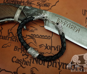Wolf Viking Bracelet Oseberg Leather Cord Sterling Silver Wolves Bracelet Scandinavian Norse Viking Jewelry