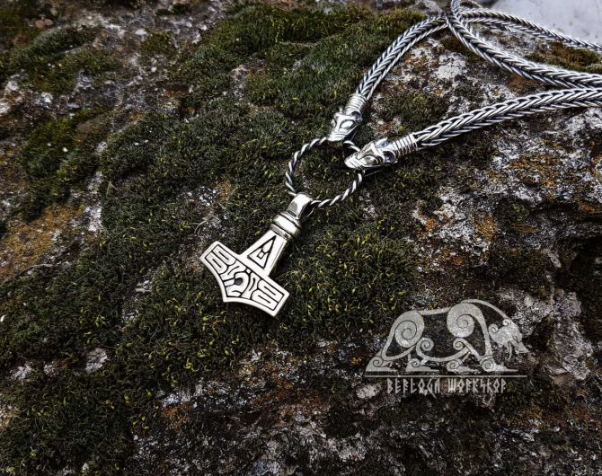 Set Wolfs Heads Viking Necklace With Thor