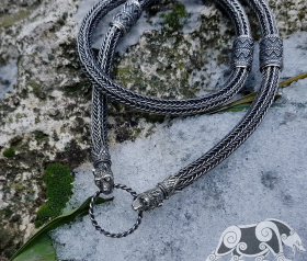 Wolfs Heads Necklace Oseberg Viking Necklace Sterling Silver Viking Chain Scandinavian Norse Viking Jewelry