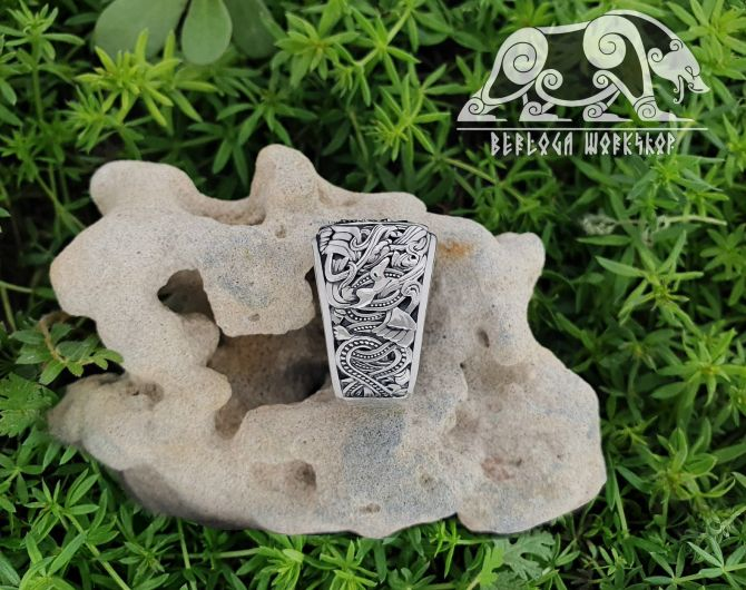 Vegvisir Ring Viking Ring Runic Compass Ring (design based on portal of stave church Borgund) Sterling Silver Norse Ring Viking Jewelry