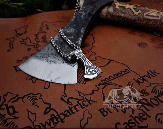 Old Germanic Axe Pendant Sterling Silver Viking Axe Necklace Scandinavian Norse Viking Jewelry