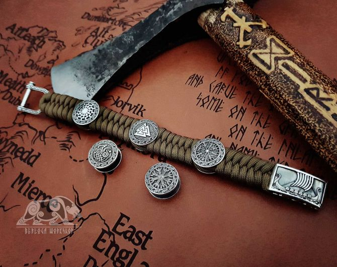 Drakkar Viking Bracelet Vegvisir Valknut Helm of Awe Black Sun Sleipnir Oseberg Viking Ship Sterling Silver Paracord Bracelet Viking Jewelry