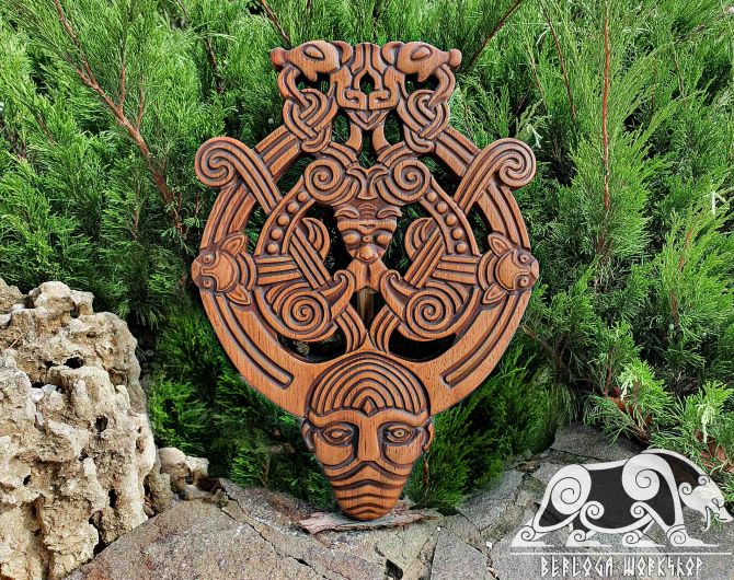 Odin with Ravens and Wolves Replica Wood Carving Viking Decor Oak Pendant Wall Hanging Norse Vikings Wall Woodwork Viking Carving