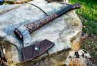 Viking Axe Hand forged axe Simargl with leather cover and wooden box