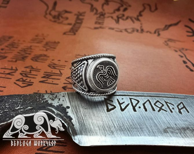 Raven Banner Ring Viking Ring Sterling Silver Ring Sterling Silver Ring Scandinavian Norse Viking Jewelry (from Eketorp, Sweden)