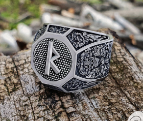Rune Ring Loki Mask Ring Viking Ring Sterling Silver Ring Viking Ring with a Rune Mammen Style Ring Viking Jewelry (based on Cammin Casket)