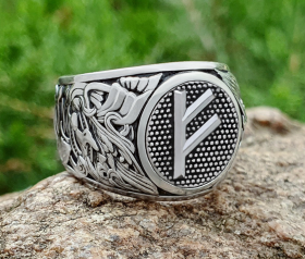 Rune Ring Viking Ring (design based on portal of stave church Borgund) Viking Ring with a Rune Sterling Silver Norse Ring Viking Jewelry