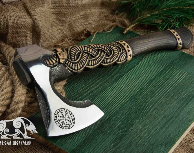 """Hand forged Viking axe """"Slangeoks"""" with carved handle and wooden box"""