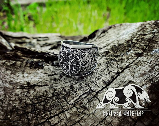 Vegvisir Ring Viking Ring Mammen Style Sterling Silver Runic Compass Ring Scandinavian Norse Ring Viking Jewelry (based on mammen axe)