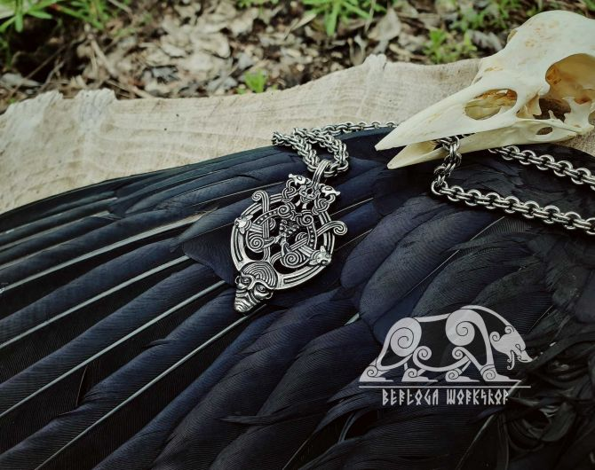 Odin with Ravens and Wolves Viking Pendant Replica Sterling Silver Viking Amulet Raven Pendant Norse Pendant Viking Jewelry Odin Pendant