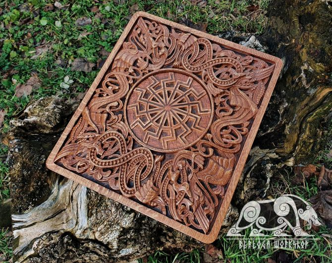 Black Sun Wood Carving Viking Decor Wall Hanging Great Detailed Norse Oak Wall Woodwork (based on portal stave church Borgund)