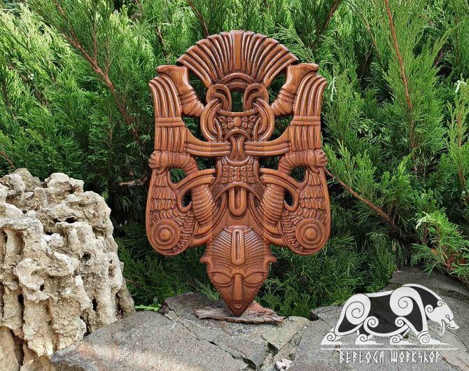 Winged Man Replica from Uppakra in Sweden Wood Carving Viking Decor Oak Pendant Wall Hanging Norse Vikings Wall Woodwork Viking Carving