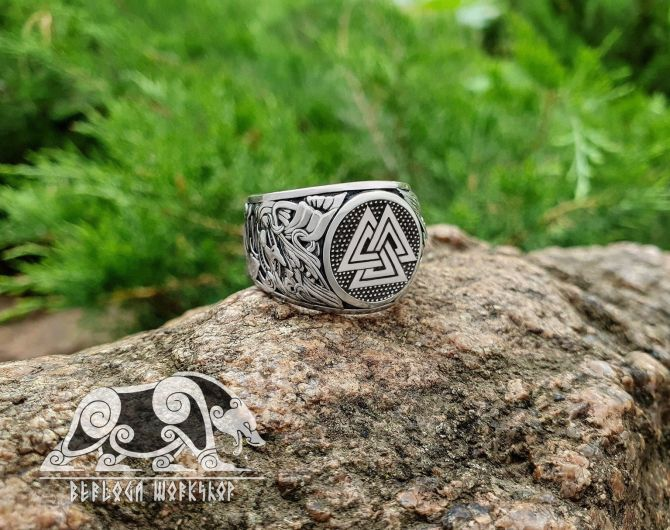 Valknut Ring Viking Ring Great Detailed Ring (design based on portal of stave church Borgund) Sterling Silver Norse Ring Viking Jewelry