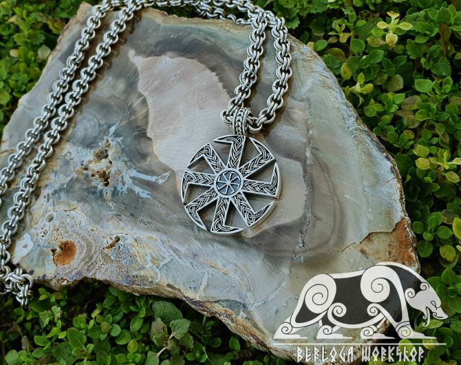 Kolovrat Slavic (Svetoch) Pendant Amulet Sterling Silver Necklace Norse Viking Jewelry