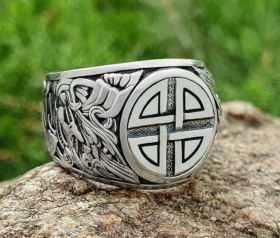 Viking Shield Knot Ring Viking Ring Detailed Ring (design based on portal of stave church Borgund) Sterling Silver Norse Ring Viking Jewelry  (2)