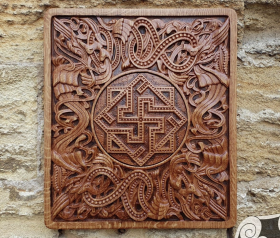 Valkyrie Wood Carving Viking Decor Valkyrie Wall Hanging Great Detailed Norse Oak Wall Woodwork (based on portal stave church Borgund)