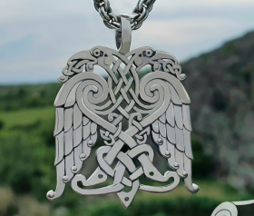 Double-headed Eagle Celtic Pendant Double-eagle Pendant Amulet Sterling Silver Celtic Pendant Necklace Norse Jewelry Celtic Jewelry
