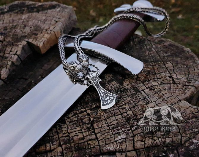 Set Dragons Heads Viking Necklace with Old Germanic Axe Pendant Sterling Silver Viking Axe Necklace Scandinavian Norse Viking Jewelry