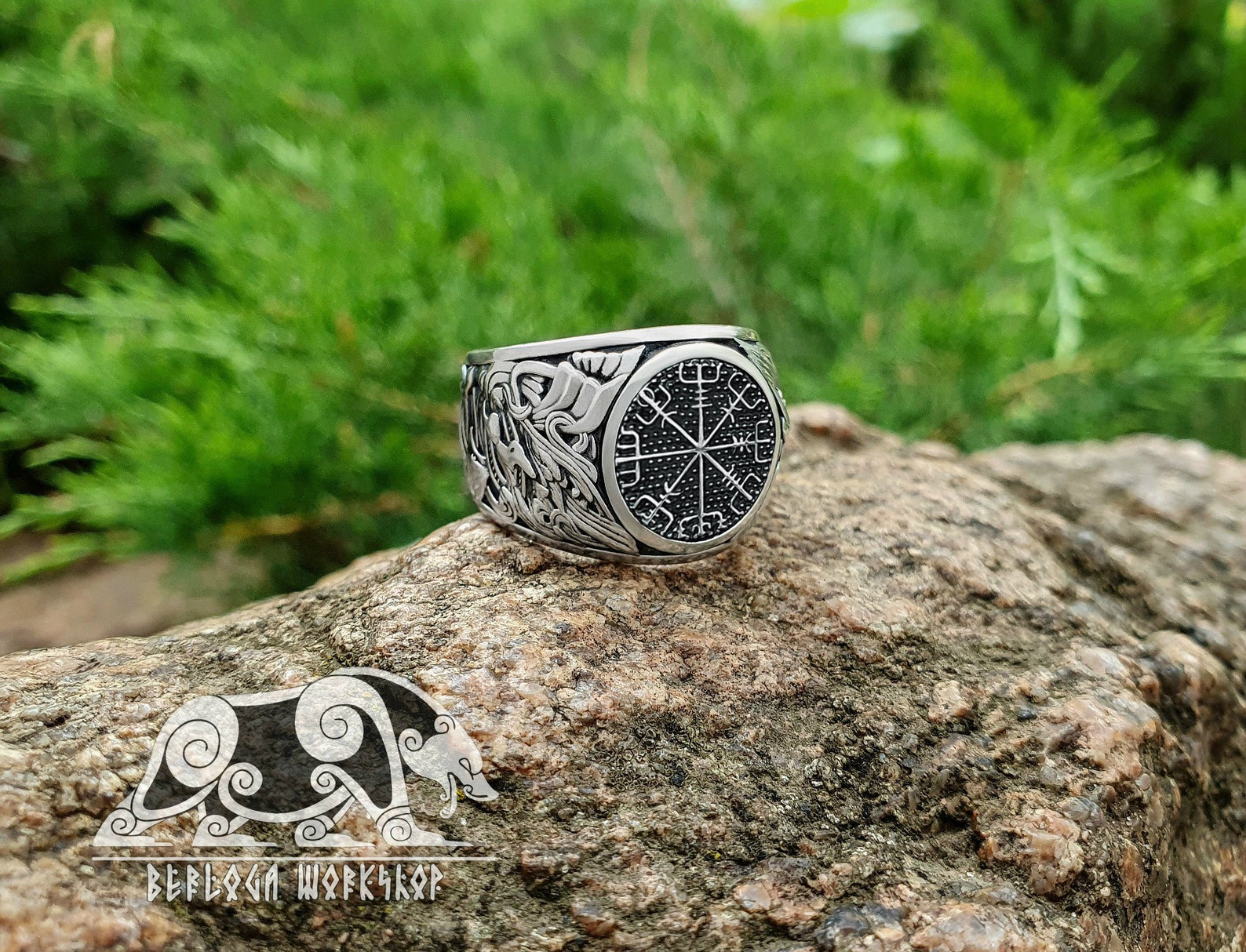 Sterling Silver Norse Ring Viking Jewelry design based on portal of stave church Borgund Vegvisir Ring Viking Ring Runic Compass Ring