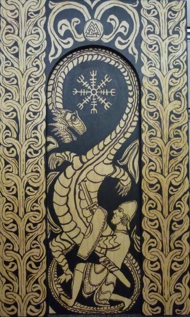 tapisserie symbole boussole viking avec dragon