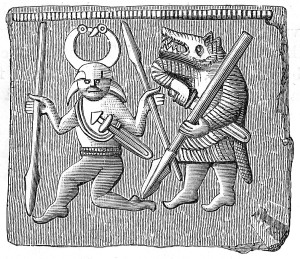 dessin de viking et loup fenrir
