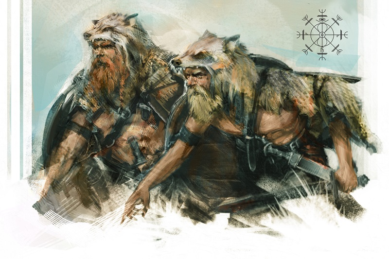 viking avec peau de loup fenrir